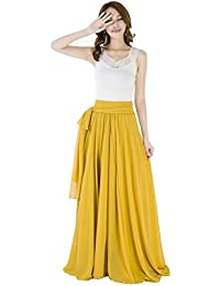 Summer Chiffon High Waist Pleated Big Hem Full/Ankle...
