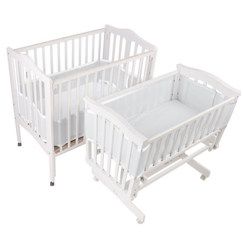 BreathableBaby | Mesh Crib Liner | Portable & Mini Cribs | Made of Lightweight, Breathe-Through Polyester Mesh | Keeps Baby's Limbs Safely Inside the Crib Without Restricted Airflow | White by BreathableBaby