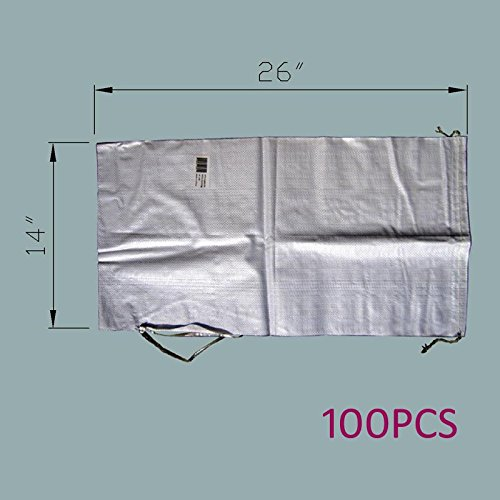 MTB Sand Bags 14''x26'', Empty White Woven Polypropylene w/Ties, UV Protection, 100Pack (Also Sold in 10Pack / 50Pack. 17''x27'' / 18''x30'' Available)
