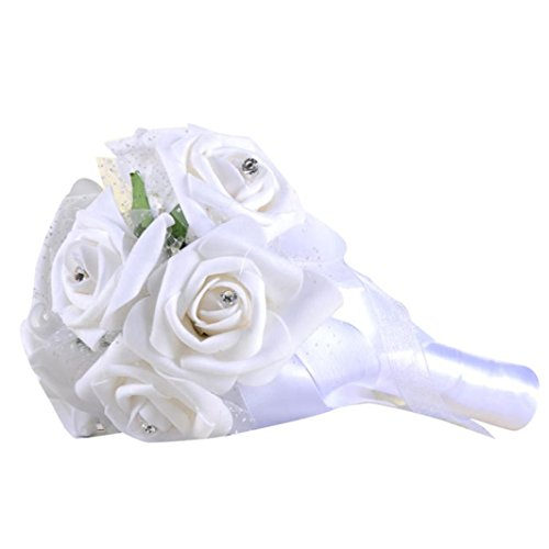 Block China Hydrangea (Wedding Bouquet,Napoo Crystal Roses Pearl Bridesmaid Bridal Artificial Silk Flowers (White))