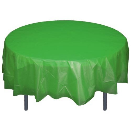 - 6-Pack Premium Plastic Tablecloth 84in. Round Plastic Table cover - Emerald Green