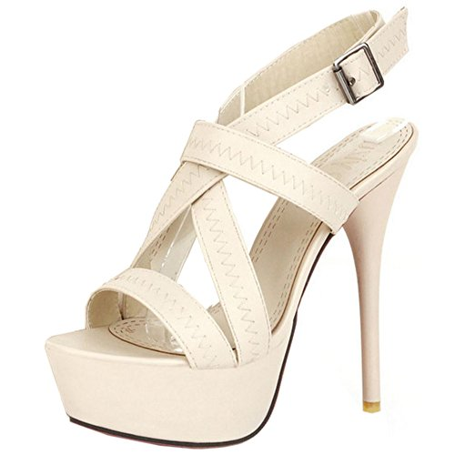 Sandali Heels Moda Beige 13CM Melady Donna wFzEqqA