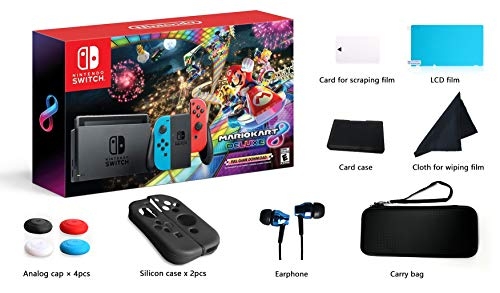 - Nintendo Switch - Mario Kart 8 Deluxe Blue & Red Joy-Con Consoles W/ 69 Value 13 in 1 Supper Carrying Case (Earphone, LCD film, Card Case, Silicon Case x 2pcs, Carry Bag, Wiping cloth etc.)