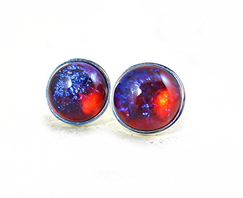 18mm Stainless Steel Mexican Opal Cuff Links Dragons Breath Cufflinks Red Blue Color Changing