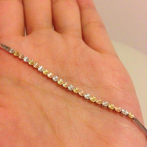 Trois Couleur, jaune, rose et blanc 14carats perles segment Bracelet en or (16,5cm) femmes bijoux St Valentin Anniversaire Cadeau de mariage