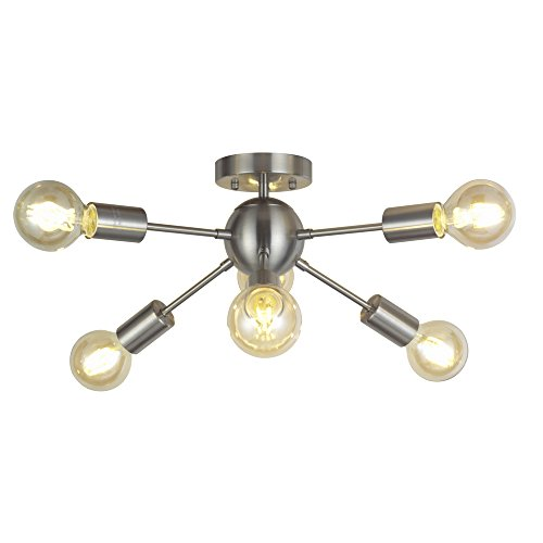 6 Light Sputnik Ceiling Light Brushed Nickel Modern Starburst Chandelier Lighting Mid Century Pendant Light by TUDOLIGHT by TUDOLIGHT (Image #7)'