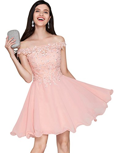 Women's Off Shoulder Lace Bridesmaid Dress Short Chiffon Homecoming Dresses Blush Size 6