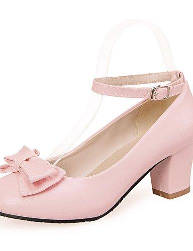 eu41 5 us9 Sommer klobige Frühjahr pink Hochzeit uk7 Ferse Leder Herbst blaue cn42 beiläufige Schuhe bowknotblack Fersen GGX 5 Kleid 10 8 Fersen Frauen AaqTxwH