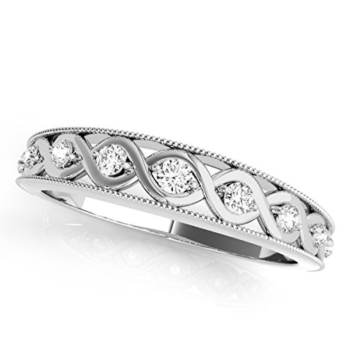 MauliJewels 0.15 Ct. Diamond Women's Wedding Band in 14K White Gold
