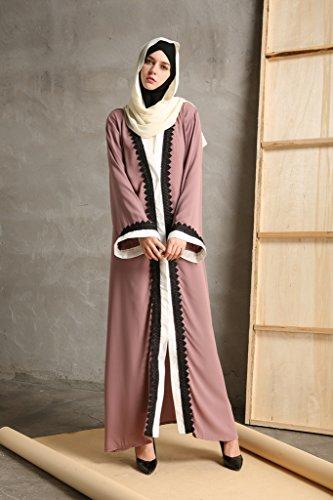 YI HENG MEI Women's Elegant Modest Muslim Islamic Full Length Lace Hem Abaya Dress with Belt,Pink Purple,XL by YI HENG MEI (Image #4)