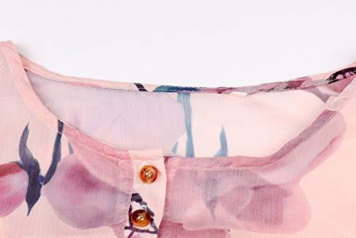 Mode Automne et Shirts Tops Femmes Imprime Printemps Chemisiers Orange Casual Longues Blouse Manches Chemises Hauts AzgxqR