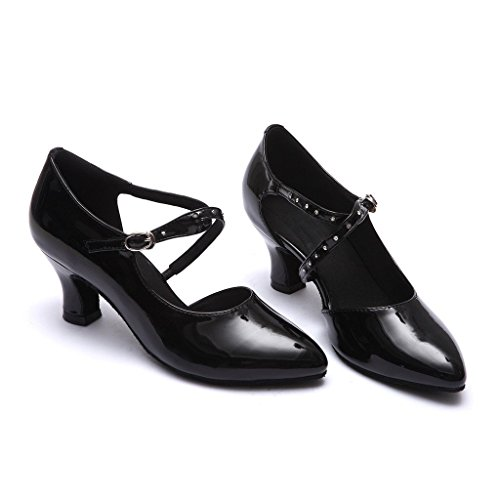 BCLN Womens Ballroom Dance Pumps Party Shoes with 2.2 Heel Black MuuF9Xl