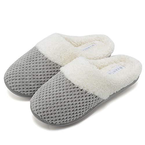 - Fanture Women's Comfort Coral Fleece Memory Foam Slippers Plush Lining Slip-on Clog House Shoes Indoor & Outdoor-U418WMT004-light gray01-F-36-37