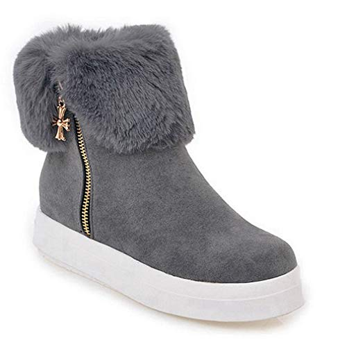 (JOYBI Women's Winter Ankle Boots Round Toe Warm Fur Lined Faux Suede Side Zip High Top Casual Platform Heel Snow Boots)