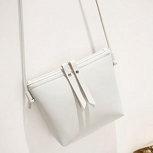 Shoulder Zipper Small Leather Pure Women PU Messenger Domybest Handbags White Bags Casual Cq6fazx