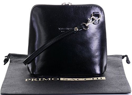 Italian Leather Shoulder Bag (Italian Leather, Black Small/Micro Cross Body Bag or Shoulder Bag Handbag. Includes Branded a Protective Storage Bag.)