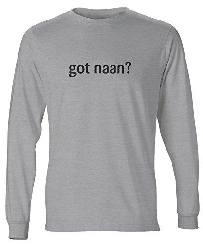 (shirtloco Men's Got Naan Long Sleeve T-Shirt, Light Steel)