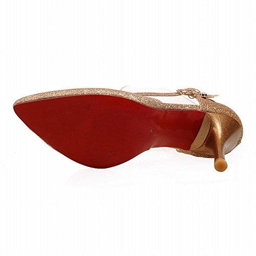 MissSaSa Damen high heel Ankle-Strap Pointed Toe Pumps Gold