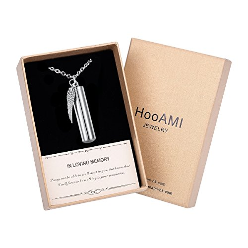 (HooAMI Angel Wing Charm & Cylinder Memorial Urn Necklace Stainless Steel Cremation Jewelry (48mm Box))