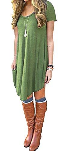 : DEARCASE Women's Short Sleeve Casual Loose Fit T-Shirt Tunic Dress
