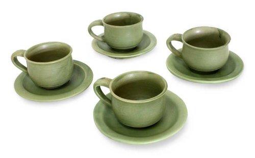NOVICA Decorative Ceramic Cups & Saucers, Green, 3 oz, 'Bali Forest' (Set for 4) by NOVICA