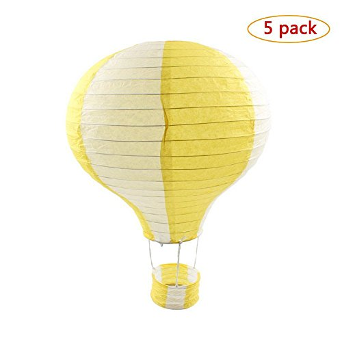 Yellow Hot Air Balloon - Party Supplies - Lot Hot Air Balloon Paper Lantern Decoration Pom Poms Pompoms Decoration Wedding Birthday Party Nursery Decoration Parties Favor Party Decor (5Pcs,12inch, Yellow)