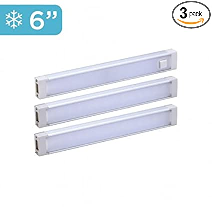 "Black and Decker Office Black+Decker LED Under Cabinet Lighting Kit, Cool White, Stick up Design, 3-Bars, 6"" Each (LEDUC6-3CK), 6"