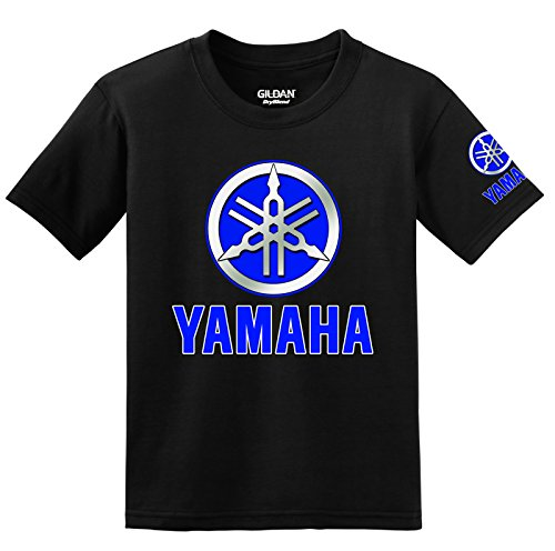 Yamaha Blue Logo with Sleeve T-Shirt, Large Black