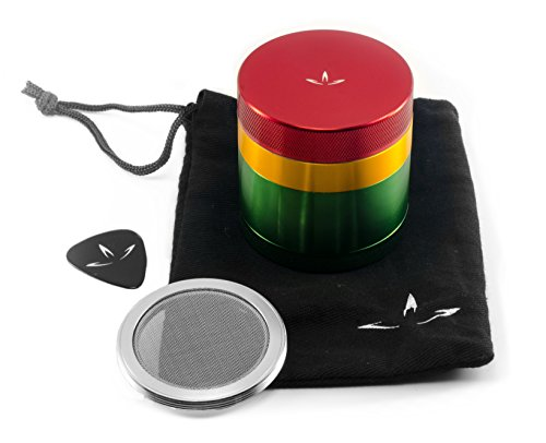 4 Piece Aluminum Herb Grinder with Removable Screen (2.2 Inch, Rasta) (Tobacco Grinder Watch compare prices)