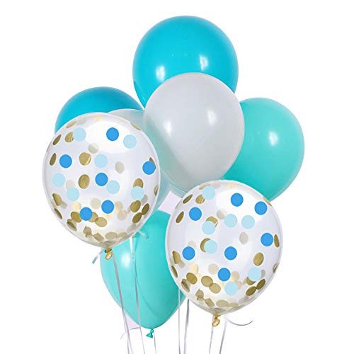 Blue Gold Confetti Balloons and White Lake Blue Turquoise Latex Balloons 50 Count,for Wedding Birthday Party Baby Boy Shower (Blue&Gold)