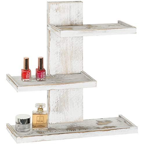 MyGift 3-Tier Vintage Whitewashed Wood Wall Mounted Makeup Organizer Shelves ()