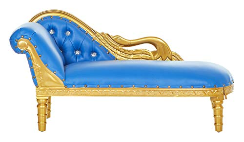 Swan Mini Chaise Children's Party Lounge for Kids, Party Rentals, Prince/Princess Lounges, Child Photoshoots, Party Furniture, Home Furniture - Blue/Gold