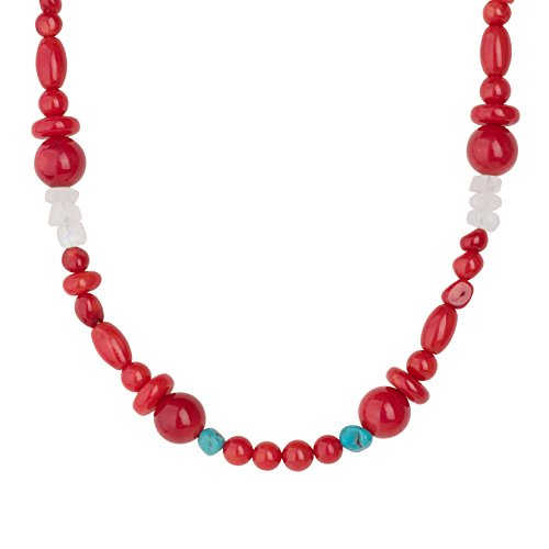Carolyn Pollack - Sterling Silver and Red Sea Bamboo Turquoise Moonstone Beaded Necklace - 32 Inches Long- Possibilities Collection