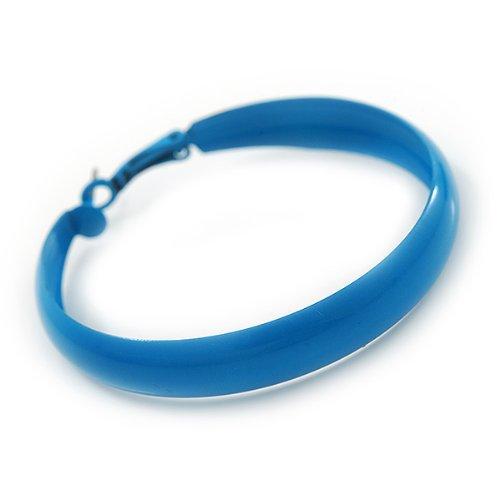 Grandes boucles d'oreilles cercle émail bleu ciel - diamètre 5,5cm