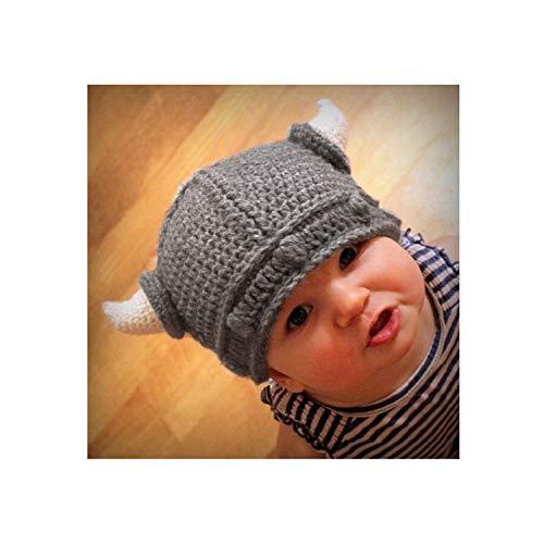 Children Infant Baby Winter hat Handmade Crochet Hats Kid Viking Horns Hat Knitted Caps,Gray -