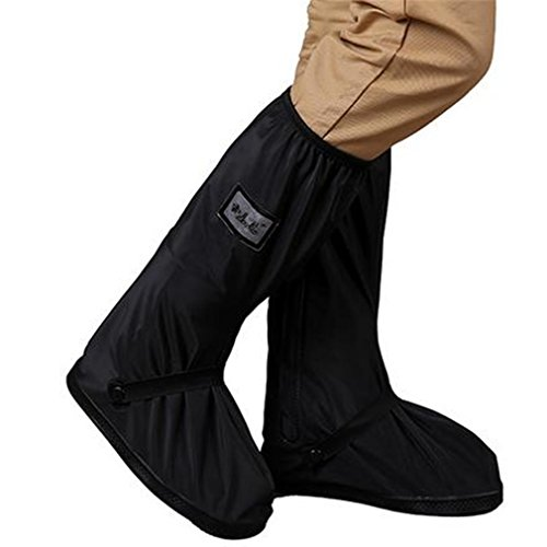 With Relectors Waterproof Reusable Motorcycle Cycling Rain Boot Shoes Covers Black S by JUESS