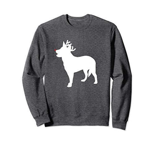 Unisex Australian Cattle Dog Reindeer Christmas Dog Sweatshirt Large Dark Heather ()