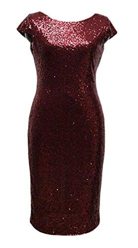 Womens Aderente Spacco Collo Cromoncent Lucida Paillettes Posteriore Backless Vestito Al Vino Rosso xwT7Zx