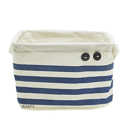 Storage Basket Storage Bin Storage Cube with Handles Small Canvas Fabric Cotton Linen Collapsible (8.25 x 7.87 x 5.91inch, Navy Blue Striped) (ASAPS)