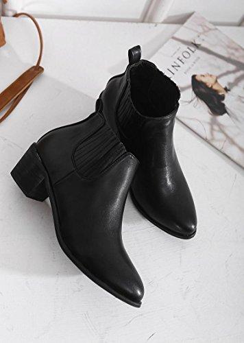 rond le et Carrière hauts orteil et printemps femme chaussures Bottes élastique Vêtements LvYuan à mxx BLACK court Chunky Été Talon Bureau 37 Casual talons nWwqY476F