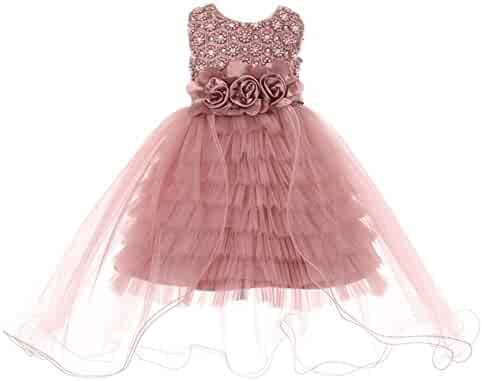 998f059e0 Cinderella Couture Little Girls Dusty Rose Pearl 3D Floral Adorned Ruffle Flower  Girl Dress 2-