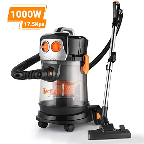 TACKLIFE Wet Dry Vacuum, 3 in 1, high speed cyclone motor, 4 Peak HP 4 Gallon 17.5Kpa, 5m power cord, 1.5m hose, suitable for garden, garage, kitchen – PVC02D