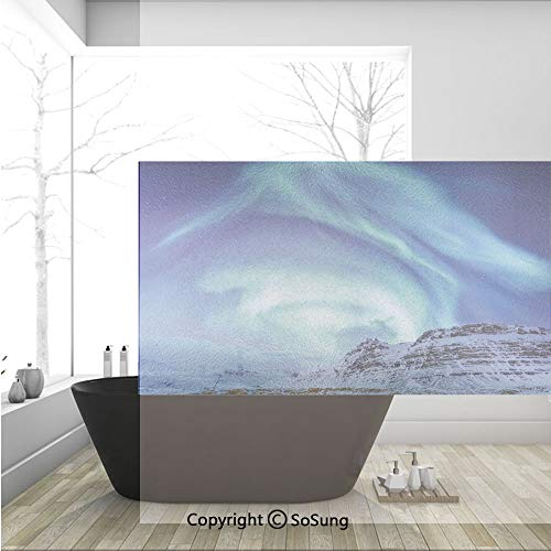 3D Decorative Privacy Window Films,Aurora Borealis at Kirkjufell Iceland Natural Phenomenon Northen Environment Decorative,No-Glue Self Static Cling Glass film for Home Bedroom Bathroom Kitchen Office]()