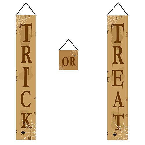 Halloween Trick or Treat Banner-JAMfit 3pcs Set Hanging Sign for Office Door Porch Front Halloween Decorations, Strong Wind Resistance]()