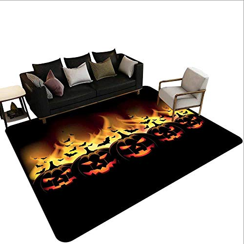 Conference Room Carpet Vintage Halloween,Happy Halloween Image with Jack o Lanterns on Fire with Bats Holiday,Black -