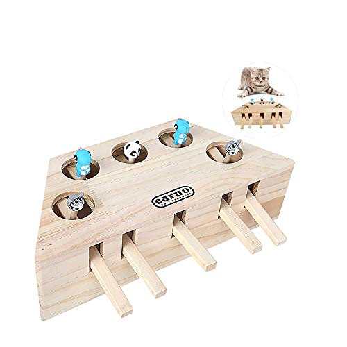 Cat Hunt Toy Wooden Interactive Cat Toy Box 3/5-holed Mouse Seat Scratch 3/5-holed Woodland Mouse Hunt Prevent Seat Scratch (A)