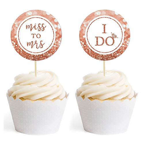 Andaz Press Bridal Shower Bachelorette Glitzy Faux Rose Gold Glitter Round DIY Cupcake Toppers, Miss to Mrs, I Do, 20-Pack, Cake Dessert Party Decor