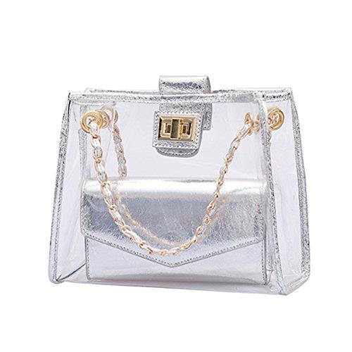 ANANXILA Fashion Transparent Women Shoulder Bag Summer Beach Composite Bag Messenger Bags Silver 25x21x9cm by ANANXILA
