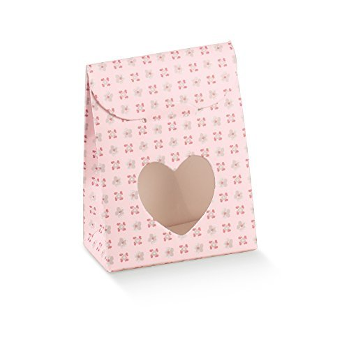 Decorative Gift Favor Box with Lid Heart Cutout, Set of 12, Best Designer Quality for Birthday, Wedding, Parties, Easy Fold, No Assembly Required, Light Pink With Flowers (2.4 x 1.4 x 3.1 in)