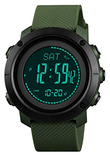 - Rubber Strap Mens Watch Multifunction Sport Watch Green/Black